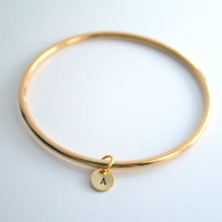 PREORDER - Gold bangle, initial, charm, personalized, bracelet - GOLD Bangle & Initial