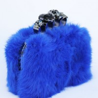 Skull Knuckle Duster Fuzzy Clutch - Blue