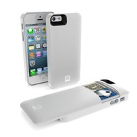 Annex Holda Case for iPhone 5/5S with Discrete Compartment for Credit Cards, Cash and a Key - Retail Packaging - White
