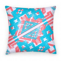 Aztec Pillow Red and Blue