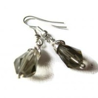 Grey Crystal Drop Earrings Smoke Wire Wrapped Jewelry