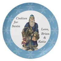 Father Christmas Blue Cookie Plate