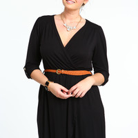 PLUS SIZE WRAP JERSEY DRESS