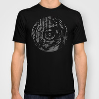 Record White on Black T-shirt by Project M
