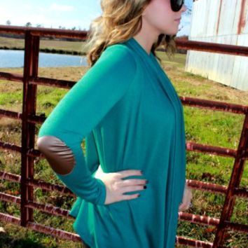 Jade Elbow Patch Cardigan