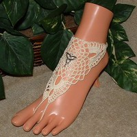 Crochet Ivory Lacy Trinity Barefoot Sandals, Foot Jewelry, Beach, Accessories