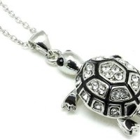 Adorable Silver Plated 3-D Turtle Charm Necklace with Austrian Crystals and Black Enamel