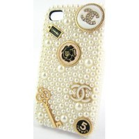 Sole Trader @ New Iphone 5 Protective Hard Case Swarovski Diamond White Pearl Skin Cover in Cream White