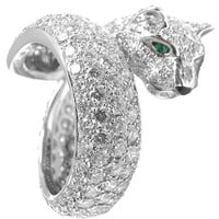 CARTIER Panthere white gold, diamond, emerald, onyx ring.