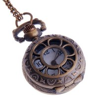 Ladies Quartz Pocket Pendant Watch With Chain Small Face White Dial Arabic Numerals Vintage Necklace Flower-Web Design PW-57