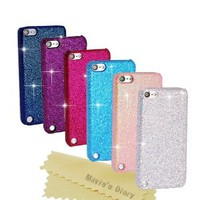 Mavis's Diary 6 Pieces Bling Glitter Sparkle Hard Cover Case Bundle for Ipod Touch 5th Generation (White, Red, Dark Blue, Blue, Dark Purple) with Cleaning Cloth