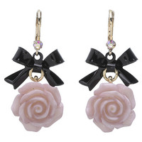 Betsey Johnson Fabulous Flowers Bow Drop Earrings