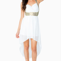 Sparkle Trim Hi Lo Dress