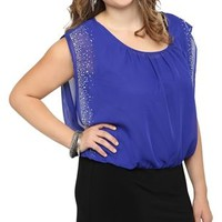 Plus Size Blouson Club Dress with Sequin Studded Open Sleeve Trim