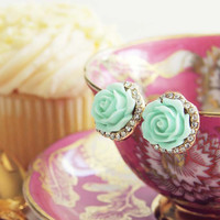 Rose Bud Stud Earrings in Mint