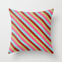 holiday diagonal stripes Throw Pillow by her art