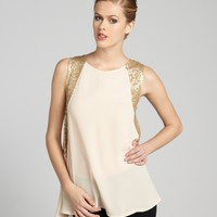 Gold Chiffon And Sequined Side Sleeveless Blouse