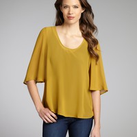 Curry Chiffon Dawson Flutter Sleeve Top