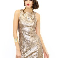West Coast Wardrobe It's My Party Sequin Dress In Gold