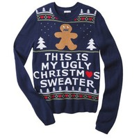 Xhilaration® Juniors Gingerbread Man Ugly Sweater - Blue