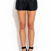 Quilted-Faux-Leather-Track-Shorts BLACK NUDE - GoJane.com