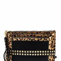 Tri-Me-Studded-Animal-Clutch BLACKLEO REDLEO - GoJane.com