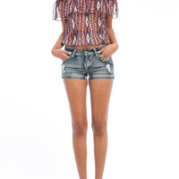 Native Print Semi Sheer Blouse