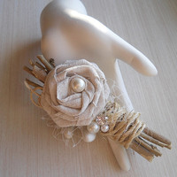 Country with a touch of Shabby Boutonniere, handmade cotton rose, tulle, twigs, twine, pearls and a rhinestone.