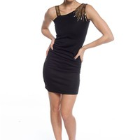 Sequin Embellished Tube Dress - Black