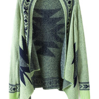 ROMWE | ROMWE Geometric Knitted Buttonless Green Cardigan, The Latest Street Fashion