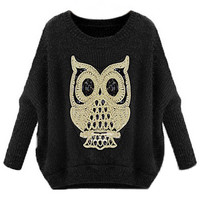 ROMWE | ROMWE Owl Knitted Batwing Sleeves Dark-grey Jumper, The Latest Street Fashion
