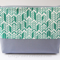 Emerald green chevron, feather, herringbone, arrow print, large cosmetic case, pencil case, makeup bag, zipper pouch, organizer
