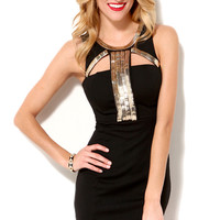 Metal Detail Keyhole Cutout Dress