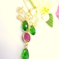 Christmas tree red ruby Swarovski green tear drop green necklace