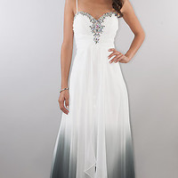 Long Ombre Sweetheart Ruched Dress