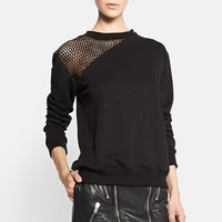 Saint Laurent Leather Mesh Shoulder Sweatshirt | Nordstrom