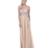 SALE! 2013 Homecoming Dresses - Champagne Beaded Sequin Strapless Sweetheart Long Dress