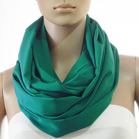 Solid Green Infinity Scarf - Circle Loop Scarves - Long Shawl Scarf Soft Cozy Fashion Scarf - Gift Handmade Accessories for Women