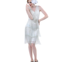 BEST SELLER! Unique Vintage Ivory & Silver Beaded Fringe Reproduction Flapper Dress