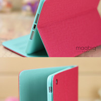 Cool Red Mint Magnetic Leather Folio Stand Smart Case Cover for iPad Mini