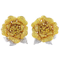 Fancy Natural Yellow Diamonds en Tremblant Rose Earclips