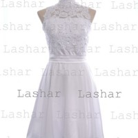 High Neck Lace Beads Knee Length White Prom Dress Wedding Dress