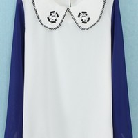 Bejeweled Color Block Chiffon Blouse