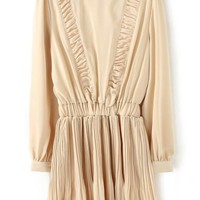 Ruffled Long Sleeve Chiffon Dress