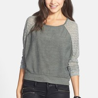 Chloe K Lace Sleeve Knit Top (Juniors) (Online Only) | Nordstrom