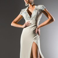 Deep V-Neck Gown by Tony Bowls Collections