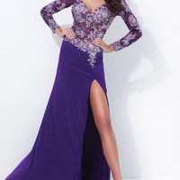 Beaded V Neckline Jersey Gown by Tony Bowls Collections