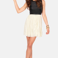 Others Follow Wild Side Black and Cream Dress