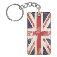 Double Sided Keychain with Great Britain Flag