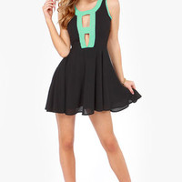 Lucy Love Chantilly Mint and Black Dress